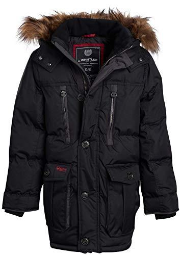 J. Whistler Men's Base Camp Parka Bubble Jacket with Fleece Lined Hood, Size Large, Black