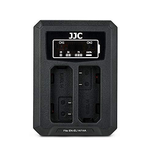 JJC Cargador de Batería Dual USB para Nikon D5600 D5500 D5300 D5200 D5100 D3400 D3500 D3300 D3200 D3100 DF Coolpix P7800 P7700 P7200 P7100 P7000 Cámaras Reemplaza Nikon EN-EL14, EN-EL14a
