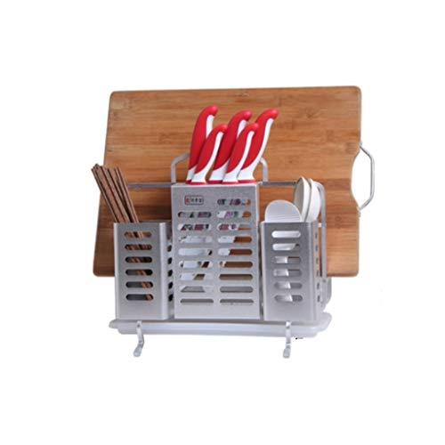 JSY Keuken multifunctionele rek aluminium meshouder stokjes soep snijplank gestel snijplank ruimte aluminium economische opslagrek Lege messenblokken