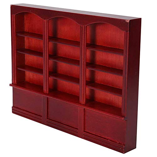 Guoshiy Estantería de Madera Modelo Vitrina Estante de Almacenamiento 1:12 estantería casa de muñecas Mini Muebles estantes de Almacenamiento Organizador de Almacenamiento para casa(Red Brown)