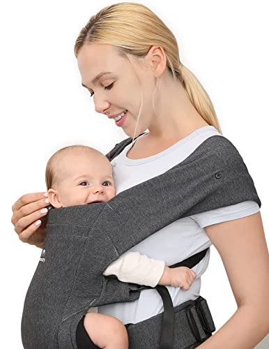 Momcozy Baby Carrier, Adjustable Baby Carriers Ergonomic Front Facing/Back Carrier for Newborn Up to 40 lbs, Baby Wraps Carrier for Breastfeeding, One Size Fits All, Dark Grey