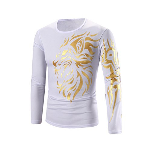 Metermall Fashion For Men Printed Tattoo Pattern Long-Sleeve T-Shirt Elegant Round-Neck Tops Gift