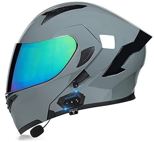 Casco Bluetooth Motocicleta Tipo Abatible,Casco para Motocicleta Casco Motocicleta Bluetooth Modular Integrado,Certificación ECE con Lente Dual Antivaho,Micrófono Incorporado C,XL=(59-60CM)