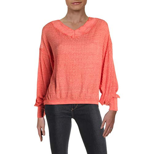 We The Free Womens Southside Ribbed Double V Thermal Shirt Orange S