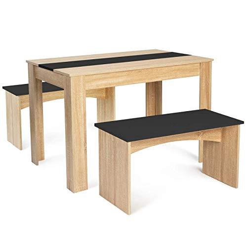 IDMarket - Ensemble Table à Manger 110 cm et 2 bancs ROZY 4 Personnes hêtre et Noir