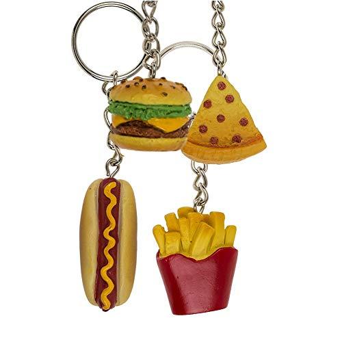 OOTB Fast-Food-Schlüsselanhänger - Einzeln verkauft - Zufälliges Modell: Hamburger, Pommes, Pizza, Kebab, Hot Dog, Sandwich - Junk-Food
