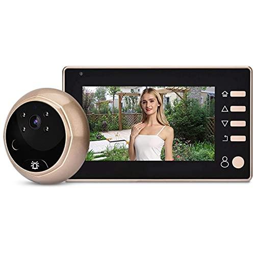 ZCZZ Cámara de Mirilla de Puerta HD de 4,3 Pulgadas 1MP, Sistema de videoportero para visión Nocturna por Infrarrojos a Prueba de Agua
