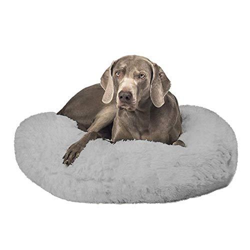 DanChen Hundebett / Nestchen für Hunde und Katzen, waschbar, rund, beruhigend, Fellimitat, Größe S - 80 cm, Hellgrau