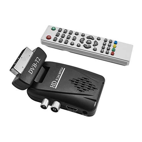 TrAdE Shop Traesio- DECODER Mini Digitale TERRESTRE SCART DVB-T2 180° USB HDMI Presa SCART HD