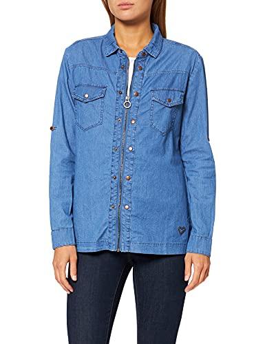 Jeans-Bluse mit Kragen und Reißverschluss