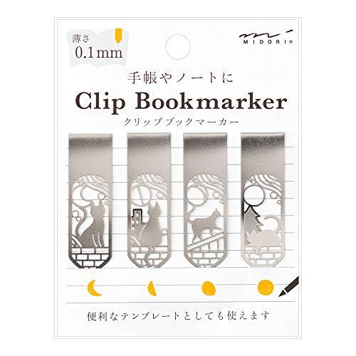 デザインフィルミドリ『ブックマーカークリップネコと月柄(43372006)』
