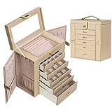 ジュエリーボックス ミラー付き大容量 ジュエリー収納 宝石箱 (ベージュ)
