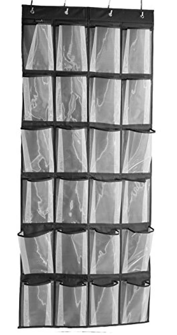 Over the Door Shoe Organizer Hanging Storage Bag 24 large Mesh Pockets Organizer , Black(63'' x18.5 '')
