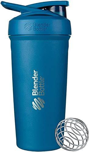BlenderBottle Strada - Edelstahl Trinkflasche, Thermoflasche mit BlenderBall, Protein Shaker und Fitness Shaker, BPA frei, Doppelwandig, Vakuum isoliert - ocean blau, 375 g