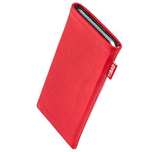fitBAG Beat Rot Handytasche Tasche aus Echtleder Nappa mit Microfaserinnenfutter für Carbon 1 MKII | Hülle mit Reinigungsfunktion | Made in Germany
