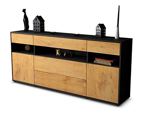 Stil.Zeit Sideboard Floria/Korpus anthrazit matt/Front Holz-Design Eiche (180x79x35cm) Push-to-Open Technik & Leichtlaufschienen