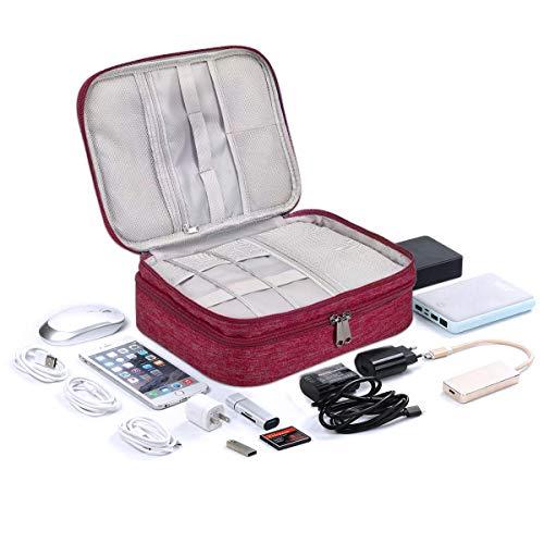 LIVACASA Kabeltasche Wasserdicht Elektronische Tasche Universal Festplattentasche Groß Kabel Organizer Tasche Elektronik Zubehör Organisator für Handy Ladekabel Powerbank USB Sticks SD Karten Rot