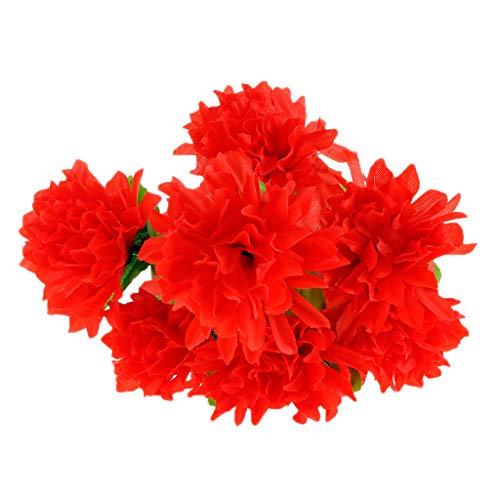 Baoblaze Künstliche Chrysantheme Seidenblumen Blumenstrauß als Grabschmuck Grabdekoration und Grabgesteck - rot