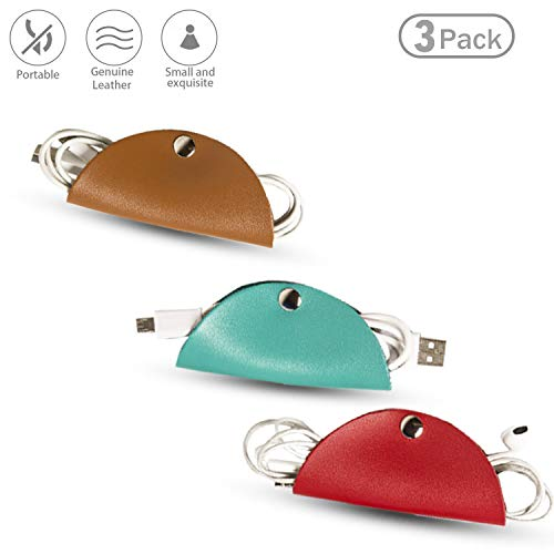 Leather-Cord-Organizer,Puiuisoul Cord Taco Trio Charger Earphone Wire Fastening Ties for Earbud Wrap Headphones USB Cable Gift