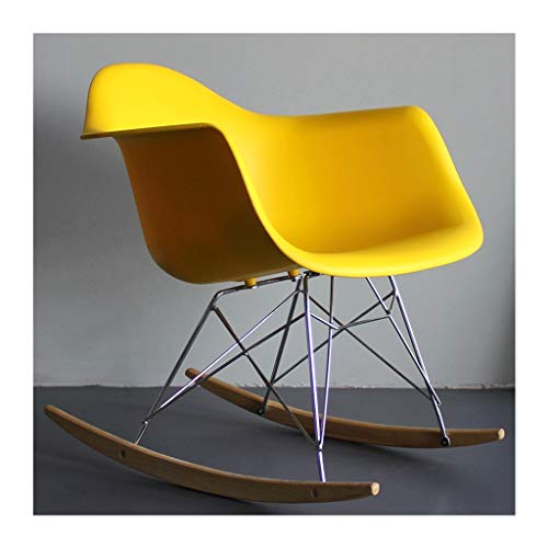 HYYTY-Y Einzelner Kunststoff Schaukelstuhl, Eames Lazy Couch, Terrassen Lounge Chair - Multicolor Selection 705-YY (Color : Yellow)