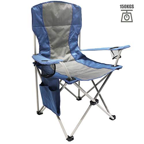 Homecall Sedia pieghevole da campeggio con tasca laterale colore grigio/blu