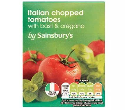 Sainsbury's Tomates picados con albahaca y orégano 390g - Tomates picados en jugo de tomate con albahaca y orégano.