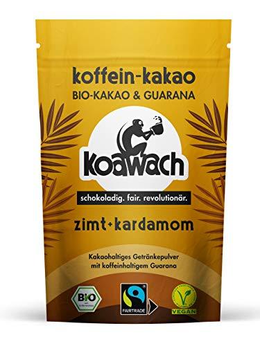 koawach Zimt + Kardamom Kakaopulver Trinkschokolade – Koffein Kakao Guarana Vegan heiße Schokolade Getränk weniger Zucker Kardamom Energy Drink Backkakao Bio Fairtrade (100g)