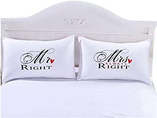 pillowcase set,Romantic Gift Idea for Couples Christmas, Valentines Day, Anniversary, Wedding, Engagement, for Him and Her in Love (M@Right, Queen)
