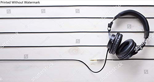 Best Price! KwikMedia Poster of Music Studio Background with dj Headphones