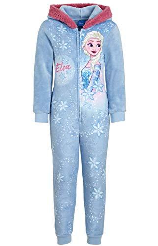 Frozen Die Eiskönigin Mädchen Overall kuscheliger Kinder Jumpsuit Anna + ELSA Spielanzug Onesie Pyjama Schlafanzug WEICH + WARM hellblau Gr.98 104 110 116 128 (98)