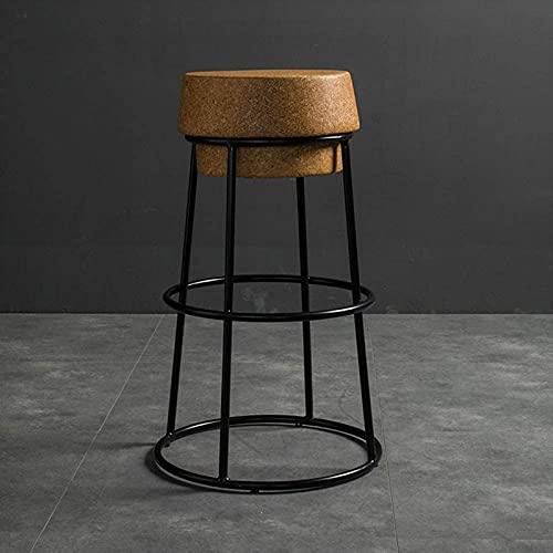 ZJDM Sgabello da Bar Rotondo Nordico Sgabello da Bar in Sughero Base in Ferro Nero Poggiapiedi Alto Sedia Creativa in Sughero/Sgabello da Bar da Cucina,Nero,45CM,Nero,45CM