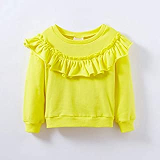 QGT Children Wear Spring and Autumn Girls Cotton Long-Sleeved Ruffled Sweatshirt, Height:98cm(Grey) (Color : Champagne Yellow)
