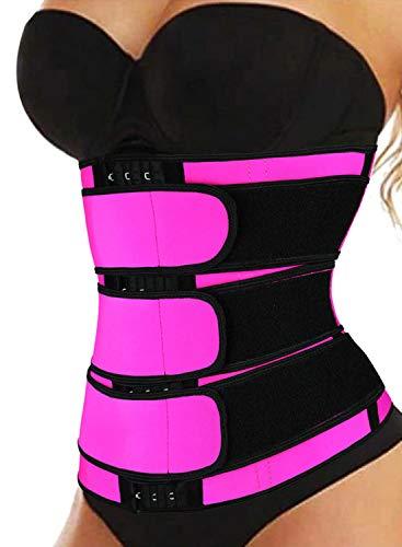 Acelitt Women Ladies Plus Size Waist Trainer Weight Loss Corset Trimmer Belt Waist Cincher Sport Girdle Slimming Shaper Rose XXX-Large