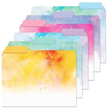 Brushstrokes File Folders Value Pack - Set of 24 (6 Designs) 1/3 Cut Staggered Tabs, Letter-Size Designed Folders
