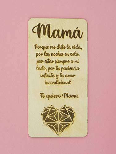 Tarjeta de madera para el día de la madre, tarjeta de cumpleaños. Regalo muy especial para mamá, tarjeta de felicitación de madera, regalo para el cumpleaños de mamá o aniversario