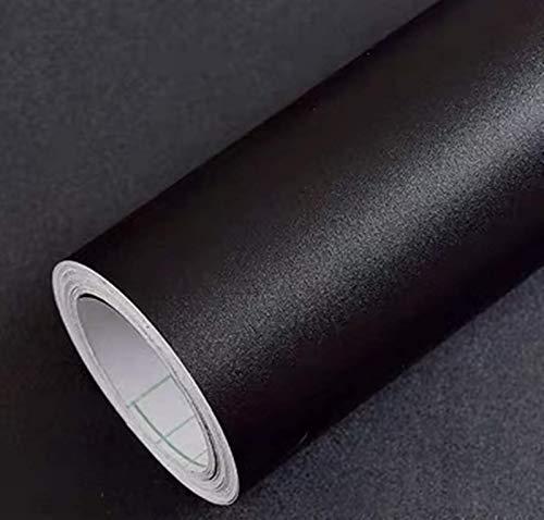 Yancorp 16'x120' Matte Black Wallpaper Plain Black Wallpaper Vinyl Self-Adhesive Shelf Liner Drawer Peel and Stick Countertop Removable Wallpaper (16'x120', Black)
