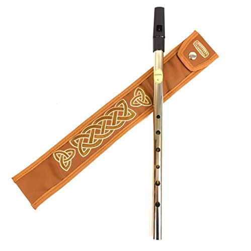 Black Tin Whistle in key of C by Feadog with Handmade Irish Whistle Case/Sleeve by Dannan in Brown Vegan Leather with Celtic Embroidery