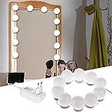 LTPAG Luces de Espejo Maquillaje, 10 LED Luz de Espejo de Tocador Estilo Hollywood Lámparas de Espejo del Baño Bombillas de Armario Táctil Inteligente, Brillo Ajustables, 12V Adaptador de Alimentación