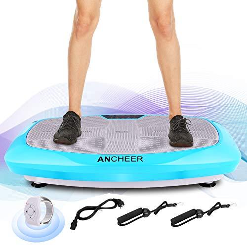 ANCHEER Fitness Plateforme Vibrante et Oscillante JF-B01C, 5 Programmes Automatiques et 3 Zones de Vibration avec Télécommande et 2 Bandes Elastiques d'Entraînements (Bleu)