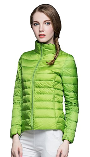 Damen Daunenjacken Winter Kaelteschutz Quilted Trenchcoat Gruen L