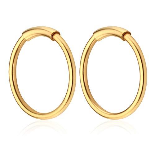 JSDDE Piercing Set 20G Edelstahl Hoop Creolen Piercing Septum Ring mit Futterrohr Lippen Helix Traugs Ohrpiercing Gold 8mm