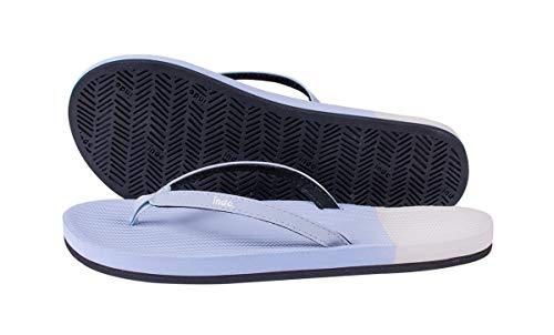 Indosole Women's ESSNTLS Vegan Flip Flops [Reused Tire Sole, Natural Rubber Arch Support, ENVRO Strap, Waterproof], [Sport, Yoga, Skate, Surf], Size 8-9, Light Shore/Sea Salt (Blue/White)