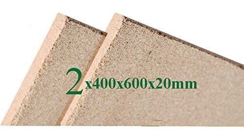 2x Vermiculite Brandschutzplatten   400x600x20mm   Schamotte Ersatz