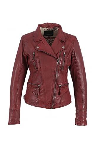 Oakwood Damen Lederjacke Jacke 60861, Rot - Rot, Herstellergröße: L