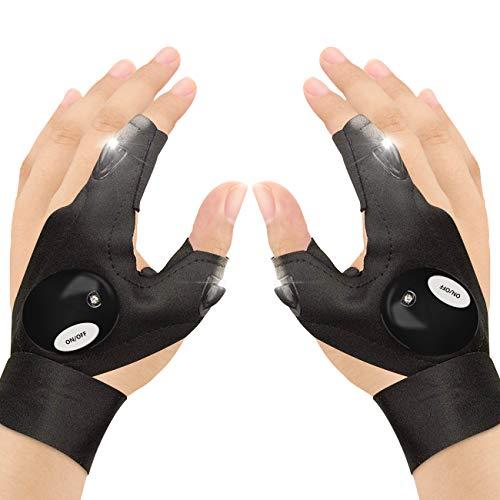 CestMall Outdoor Angeln Handschuhe, 2 LED Taschenlampe Handschuhe Fingerlose Nachtbeleuchtung Handschuhe, Magic Strap Daumen Zeigefinger Fahrradhandschuh zum Wandern Camping Notüberleben - 1 Paar