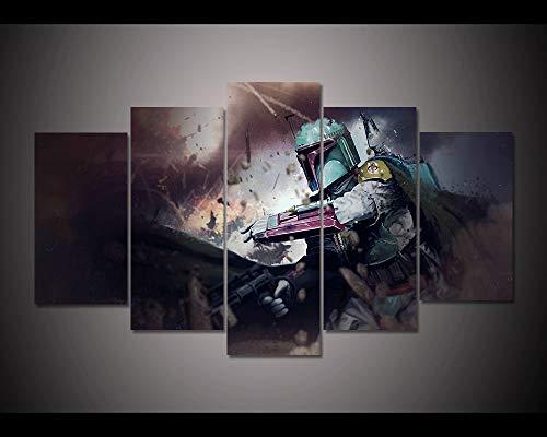 NVSHENY-LOVED Leinwandbilder H e Dekor Wandkunst-Rahmen 5 Stück Filmbilder Living HD Prints Warrior Boba Fett Poster