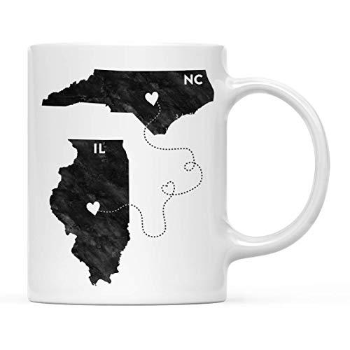N\A Taza de café para Regalo de Larga Distancia, Illinois y Carolina del Norte, Blanco y Negro Moderno, Paquete de 1, Regalo para graduación universitaria de mudanza para él, Sus relaciones