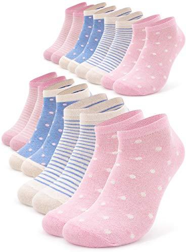 Occulto 8 Paar Damen Sneakersocken Füßlinge mehrfarbig mit Streifen und Punkten 39-42, Pink-hellblau
