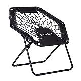 Relaxdays Bungee Stuhl WEBSTER, elastischer Outdoor Gartenstuhl mit Nackenkissen, faltbar, bis 100 kg, schwarz-grau