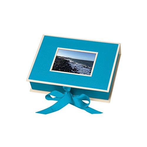 Semikolon (352523) Kleine Fotobox mit Einschubfenster turquoise (türkis) - Aufbewahrungsbox für Bilder - Geschenk-Box für Schmuck - 20,7x15,3x4,7 cm